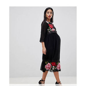ASOS Maternity Floral Embroidered Midi Dress 8